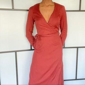 Kotn Woven Wrap Dress in Brick